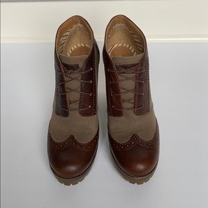 SPERRY Brown & Olive Wingtip Lace-up Booties